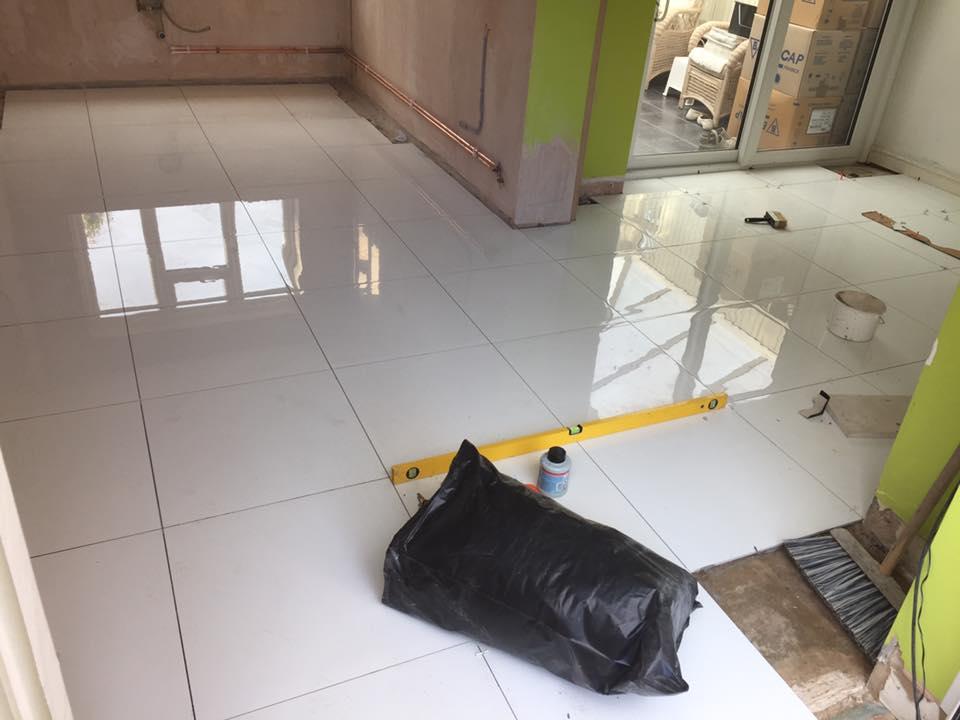 Beautiful white tiled floor